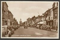 Postcard Lymington New Forest Hampshire motor cars in High Street RP