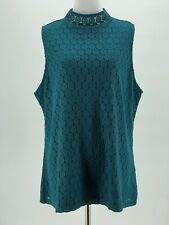 Charter Club Lace Women's Teal Mock-Neck Sleeveless Blouse Size XXL NEW