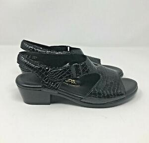 SAS Womens Suntimer Sandals Black Croc Patent Leather Tripad Comfort Size 6 W