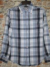 Urban Up Pipeline Boy's SMALL 10-12 Blue White Plaid Cotton LS Button Up Shirt