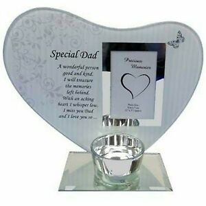 Heart Shape Glass Photo Frame Special Dad Memorial Tealight Candle Holder Plaque