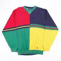Vintage TOMMY HILFIGER Colour Block Crest Logo Jumper Size Men's Large