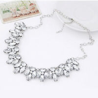 `Women silver Crystal Pendant Choker Necklace Bib Collar Chunky Statement;