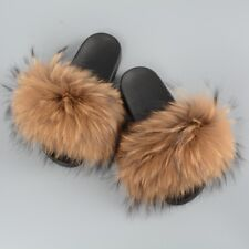 Genuine Fur Slippers Sliders Women Indoor Outdoor Summer Shoes Flat Soft 36020B