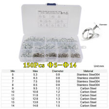 150Pcs Φ5-Φ14 Double Wire Fuel Line Hose Tube Clamp Spring Clips Stainless Steel