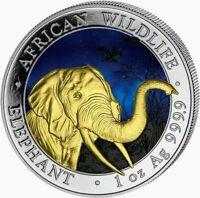 2018 SOMALIA ELEPHANT Colorized 1oz .999 Silver - MINTAGE 100 Pcs - BOX & COA
