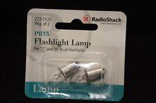 RADIO SHACK 2X PR15 Flashlight Bulb Lamp FOR C & D 4 CELL FLASHLIGHTS 272-1125