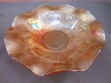 Marigold Large Vintage Iris & Herringbone Ruffled Ribbed Carnival Glass Bowl