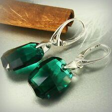 925 Silber Ohrringe Original Swarovski Elements grün dunkel grün lang