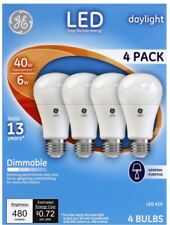 GE Light Bulb Daylight LED6DA19/5K/4PK 4 Light Bulbs 5000k Dimmable A19 Medium