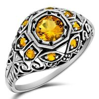 1CT Golden Citrine 925 Solid Sterling Silver Ring Filigree Jewelry Sz 8, Z-34
