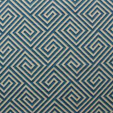 INMAN HOME BANJI TEAL BLUE SAND GEOMETRIC FRETWORK MULTIUSE FABRIC BY YARD 54