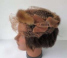 Vintage 1960's Mink & Velvet Pill Box Hat Needs Refurbishing