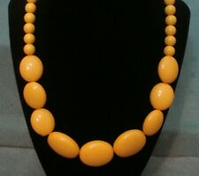 Vintage Retro Goldenrod Yellow Lucite Oval Round Graduated Bead Collar Necklace