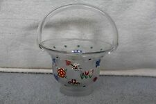 """Lenox Hand Painted 8"""" Glass Basket With Butterflies And Blossoms Signed P.K.P"""