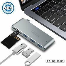 Premium Type USB C Adapter with 3X 3.0 Ports & SD/MicroSD Card Reader Super Fast