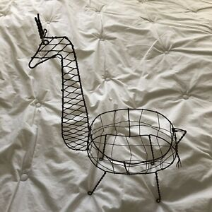 20th Centural Whimsical Wire Minimalist Giraffe Basket EUC