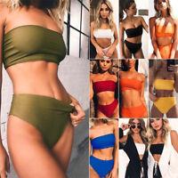 ❤Women's Strapless Bandeau Top Bikini Set High Waist Bottom Swimsuit Swimwear❤