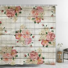 Country Rustic Farmhouse Wood Floral Watercolor Waterproof Fabric Shower Curtain