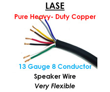 LASE 13 AWG Gauge 8 Conductor Heavy Duty Speaker Wire (Sold in 10 Ft Increments)