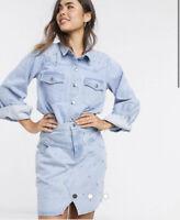 Neon Rose Shirt Skirt SET Co Ord Size XS & M Outfit Embellished Denim Blue GK09