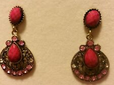 Pretty Hot Pink Fashion Statement Pewter Rhinestone Dangled Earring Resin Set