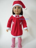 "Christmas Santa dress outfit doll clothes for American girl 18"" Doll dress 4pc"