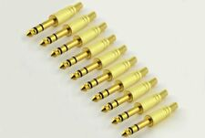 "NEW 10 x 1/4"" Male Stereo TRS Audio Cable Jack Spring Connector Gold Plugs Lot"