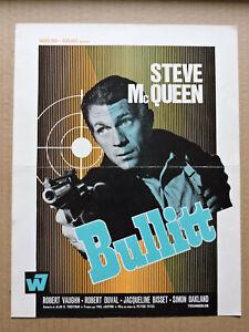 Bullitt original French press sheet 1969 Steve McQueen and Jacqueline Bisset