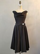 Unique Vintage Black Party Cocktail Dress Womens Small Full Skirt Rhinestone