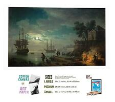 CLAUDE JOSEPH VERNET FRENCH ACADEMIC SEAPORT BY MOONLIGHT ART