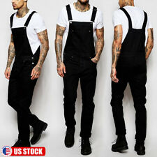 Men's Denim Dungarees Overalls Bib Jumpsuits Moto Biker Jean Pants Trousers US