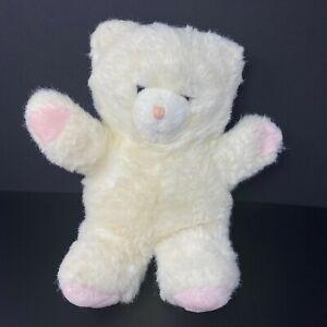 "Vintage Applause White Teddy Bear Plush Pink Hands Feet Nose 1986 14"" Stuffed"