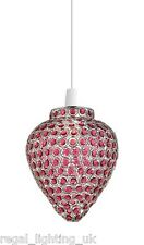 ENDON BISHAM NON ELECTRIC PENDANT CHROME WITH AUBERGINE BEADS LAMP SHADE 60W MAX