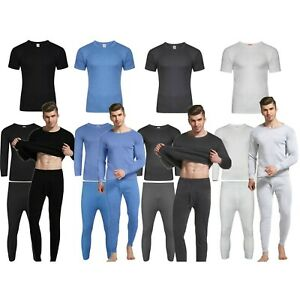 Mens Thermal Long Johns Top Bottom Underwear Trouser TShirt Full Half Sleeve