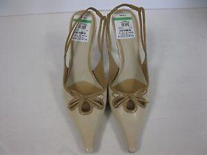 Leather Slingback Sandals 9.5 Nine West lilybeth light natural High Heel
