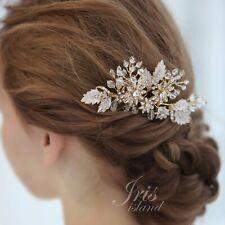 Bridal Hair Comb Clear Crystal Headpiece Hair Clip Wedding Accessory Gold HAAA