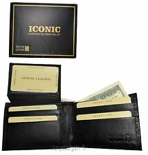 Men's Leather Wallet, Black Crocodile Skin Printed leather wallet BR New In Box