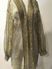 PREOWNED GIDEON OBERSON GOLD  METALLIC SWEATER TOP !! FARNASS