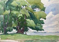 Acquerello Impressionista Vista su Den Tegeler Lago Berlino Autografato Datato