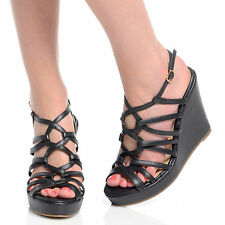 Womens Ladies High Heel Fashion Wedge Sandals Ankle Strap Platform Shoes 3-8 Black PU UK 6 EU 39