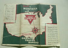 1932 Montana  road map Conoco oil gas Yellowstone insert U.S. illustrated
