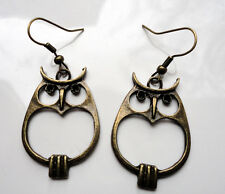 Antique Bronze Style EARRINGS Owls Owl Strigiformes Bird of Prey Unusual