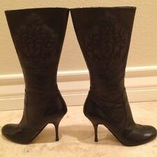 ISABELLA FIORE Black Leather Victorian Embroidered Boots Retail $850 6M Italy