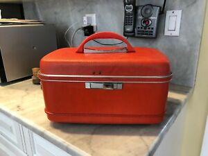 BOLD Vintage Train Case Makeup Bag ORANGE Hard  Luggage Retro