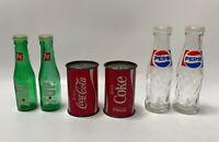 3 Sets Vintage Coke, Pepsi, 7UP Glass, Metal Sat & Pepper Shakers