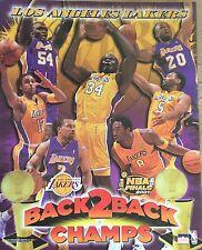 LA Lakers 2001 Champs Shaq Kobe Horry Shaw Fisher Fox 16x20 Starline Poster OOP