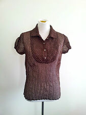 Striking Spots! Nafnaf size 40 chocolate & white top in excellent condition