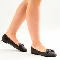 New Women's Flat Brogues Office Smart Shoes Ladies Suede Pom Pom Casual Loafers