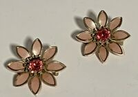 "Lot of 2  VTG Flower Brooch/ Pins Pink Enamel ,Gold Tone Pink Stone-1"" D"
